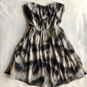 GREYLIN Animal Print Strapless Dress with Pockets